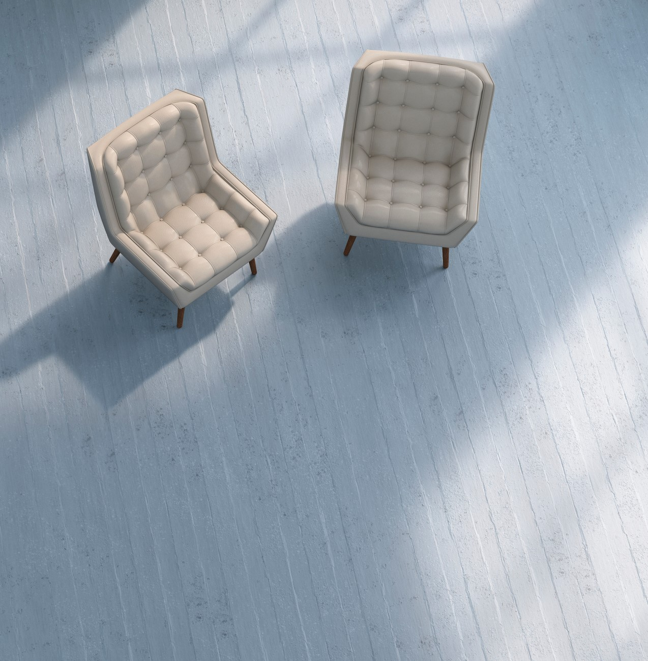 3D rendering, Two chairs on concrete floor